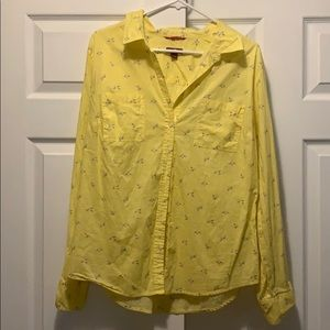 Bright yellow button down shirt with small birds